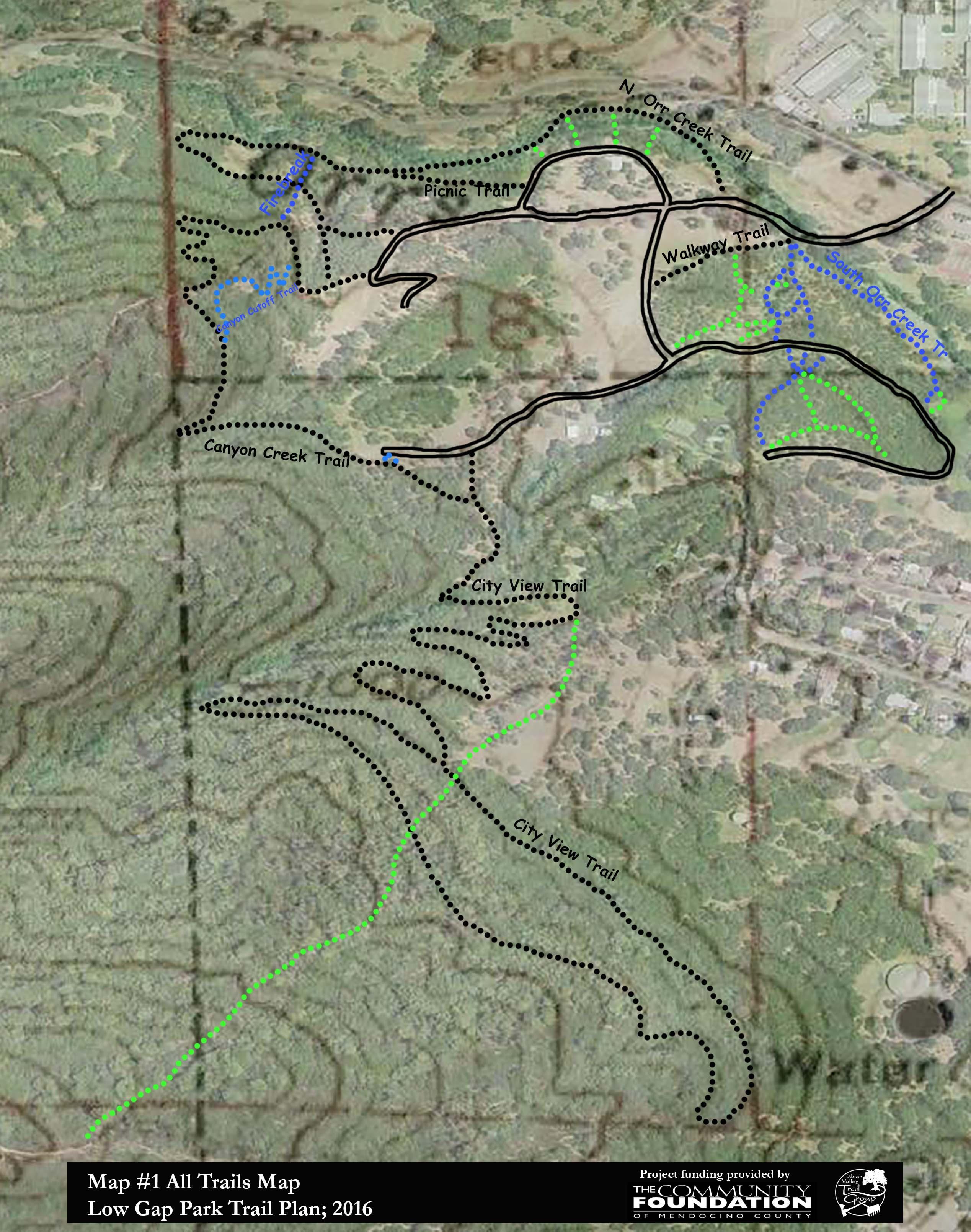 Low Gap Park Trails   Ukiah Valley Trail Group High Bridge Trail Map on