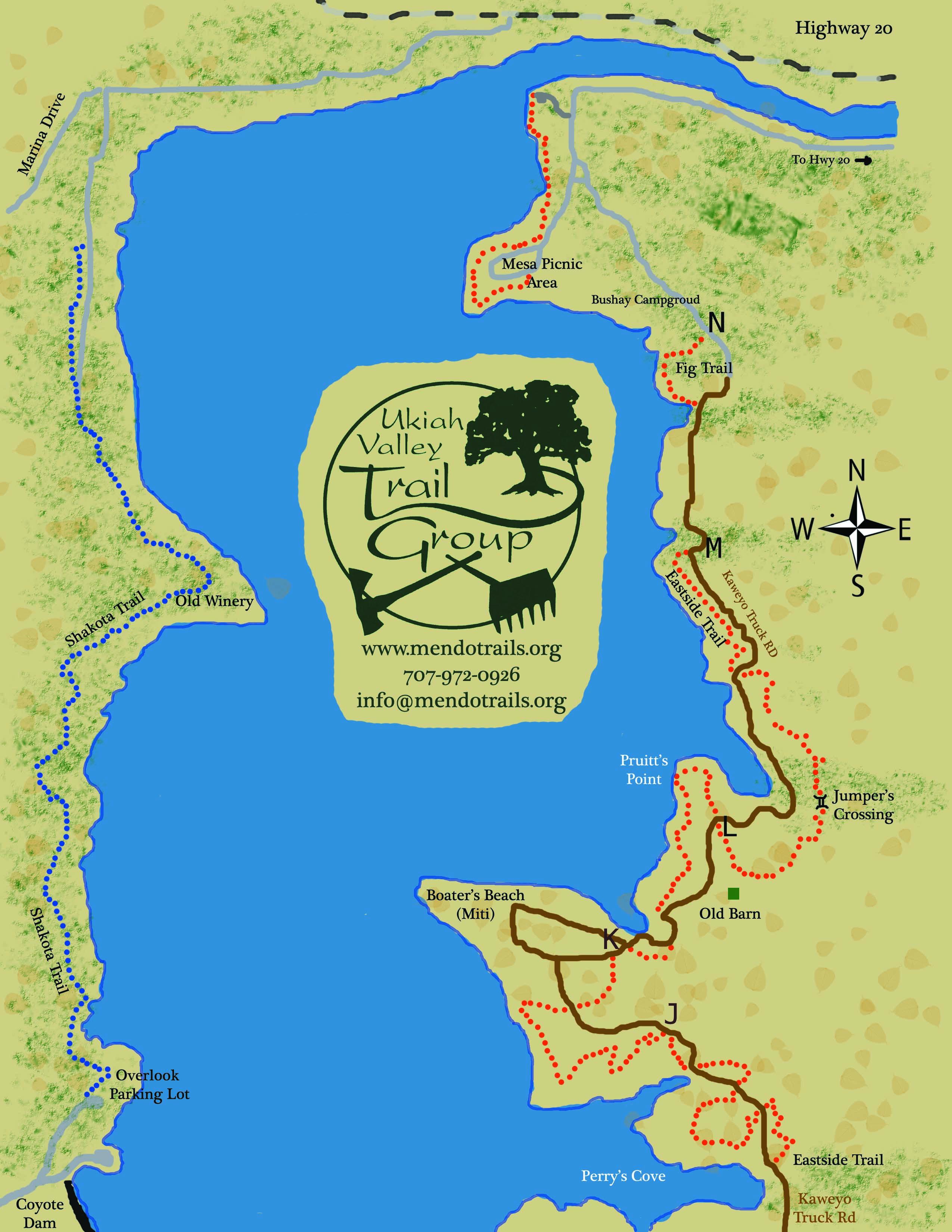 Lake Mendocino Trails – Map Ukiah Ca